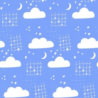 Nachtelijke hemelachtergrond met hand getrokken wolken, maan en sterren. kinderprint voor textiel en behang.