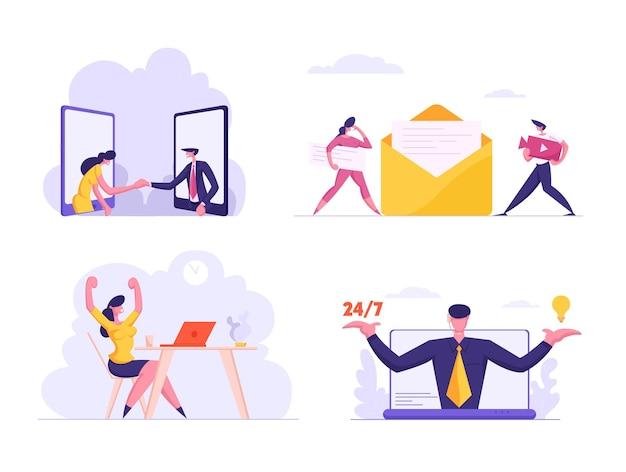 Nachtelijke klantenondersteuning, zakelijke overeenkomst, werktevredenheid, e-mail digitale marketing