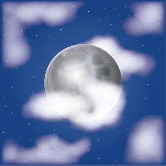 Nachtelijke maanlichtscène