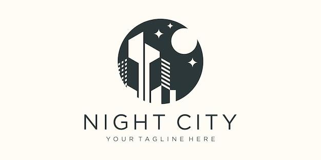 Nachtelijke skyline van de stad bij inspiratie voor het ontwerpen van logo's met volle maan