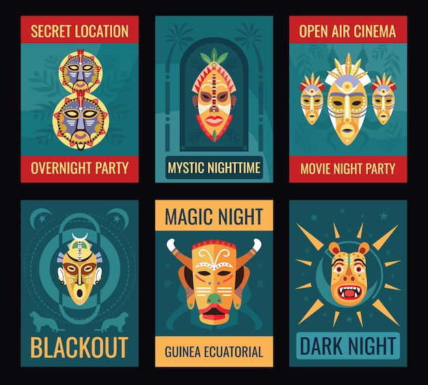 Nachtfeest flyers ontwerpset met tribale maskers.