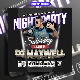 Nachtfeest met dj-muziek social media post