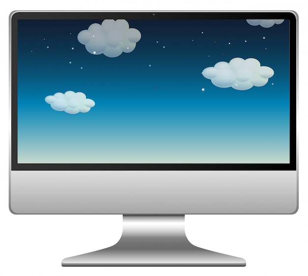 Nachthemelscène op computerachtergrond