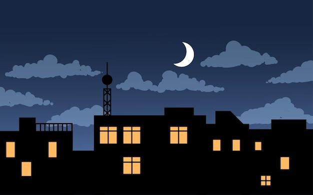 Nachtillustratie met gebouwen en halve maan
