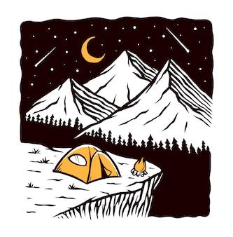 Nachtkamp wilde illustratie