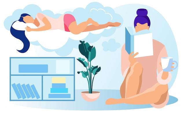 Nachtkastje boek over vrouw, slapen op pluizige wolk