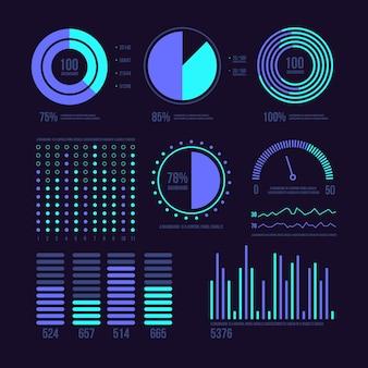 Nachtkleuren effect dashboard element collectie