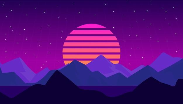 Nachtlandschap in de stijl van de retro-golf van s