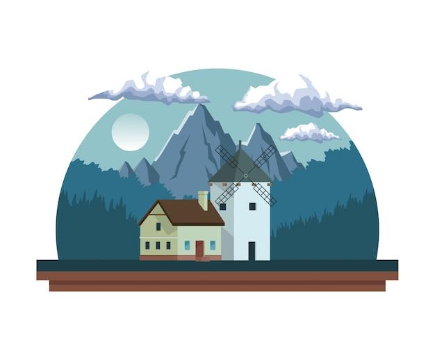 Nachtlandschap in half rond kader met gebiedsbergen en huis met windmolen