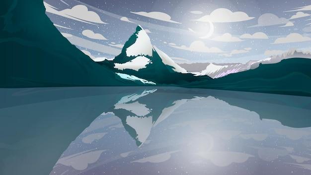 Nachtlandschap met bergen op het meer Premium Vector