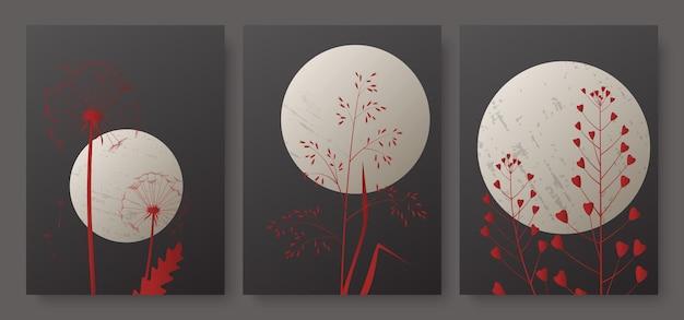 Nachtlandschap met volle maan en de rode achtergrond van het weidegras die met abstract gebladerte in verticaal wordt geplaatst.