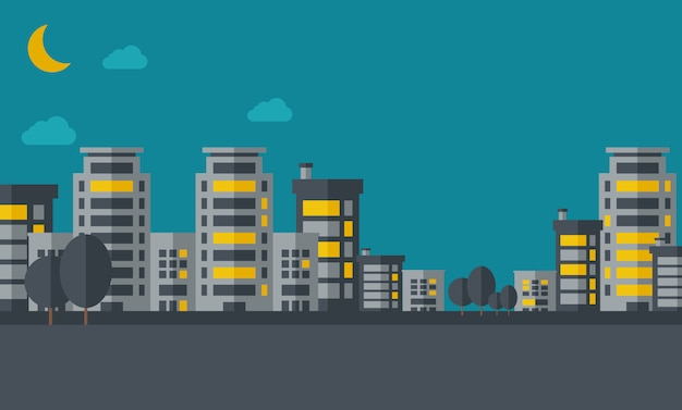 Nachtlandschap van de bouw van stad met maan