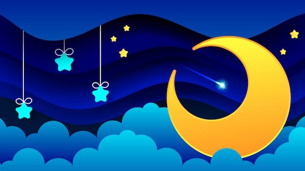 Nachtlandschap van dikke wolken de nachthemel een prachtig landschap