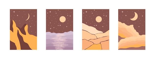 Nachtlandschappen in boho minimalistische stijl vectorillustratie