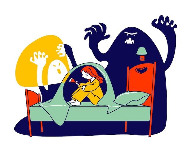 Nachtmerrie doodsbange fobie. beetje bang meisje met zaklamp zittend op bed onder deken verbergen voor beangstigende geest, cartoon platte illustratie