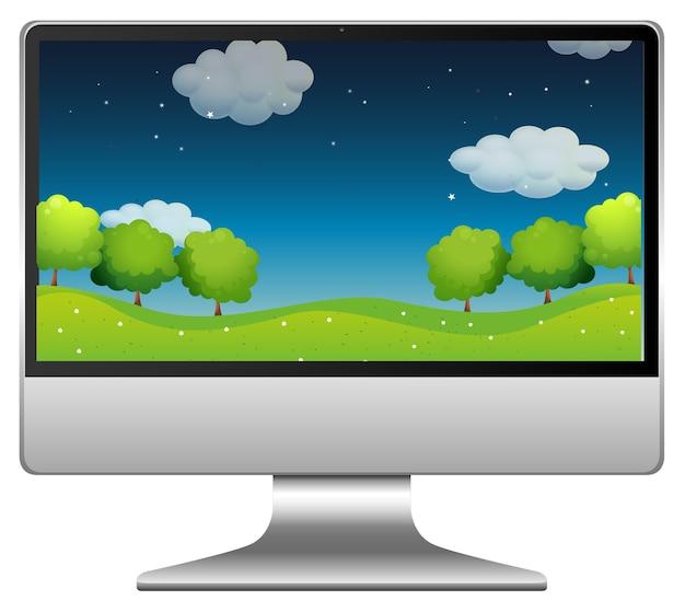 Nachtpark op computerdesktop