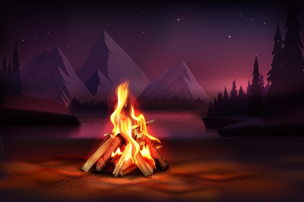 Nachtsamenstelling met brandende kampvuurillustratie