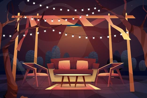 Nachtscène in de buitenlucht van een bank met kussens, stoel en salontafel op tapijt onder verlichting van het plafond thuis