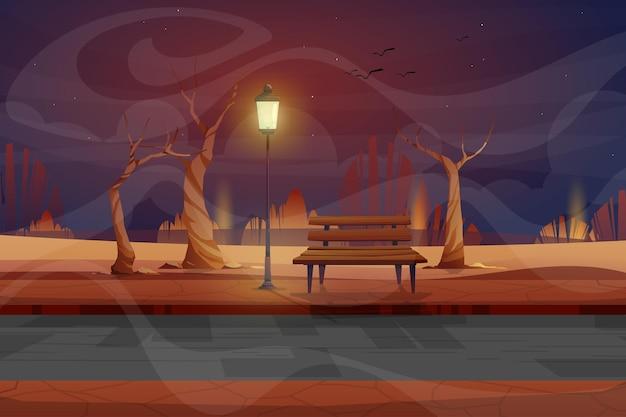 Nachtscène met houten bank en hoge lamp met verlichting in stadsbeeld van het parkcartoon