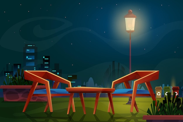 Nachtscène met houten stoel met salontafel en hoge lamp met verlichting in stadsbeeld van parkcartoon