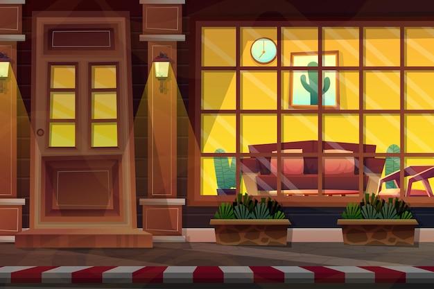 Nachtscène, scène keek door een glazen raam en zag de binnenkant van het huis.