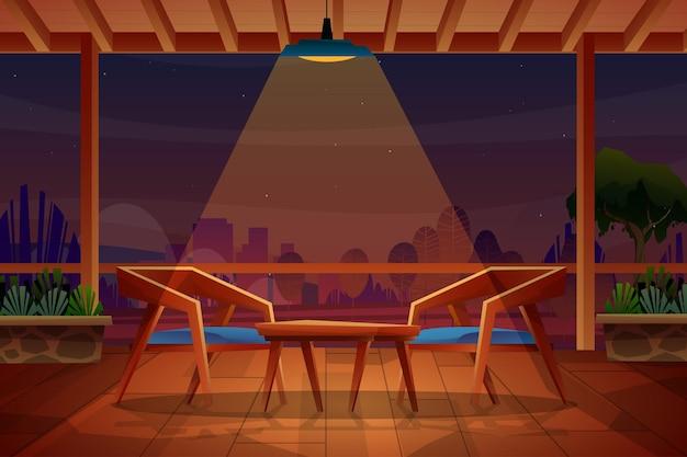 Nachtscène van stoel en tafel op houten vloer onder verlichting van plafondlamp