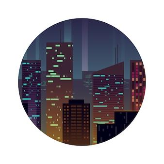 Nachtstad met glanzende gebouwen