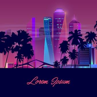 Nachtstad met palmen