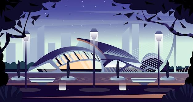 Nachtstad van kunst en wetenschappen in valencia. cartoon illustratie