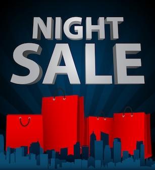 Nachtverkoop met boodschappentas in de stad