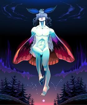 Nachtvlinder jongen illustratie