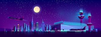 Nachtvluchten van de cartoon van de luchthaven van de stad