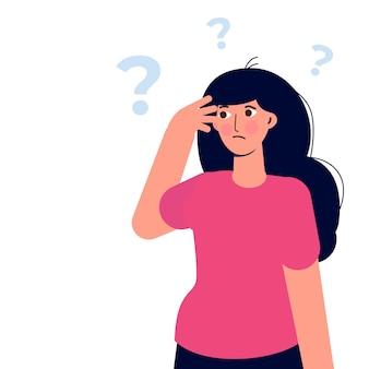 Nadenkende mensen. vrouwen die een probleem oplossen. vector illustratie.