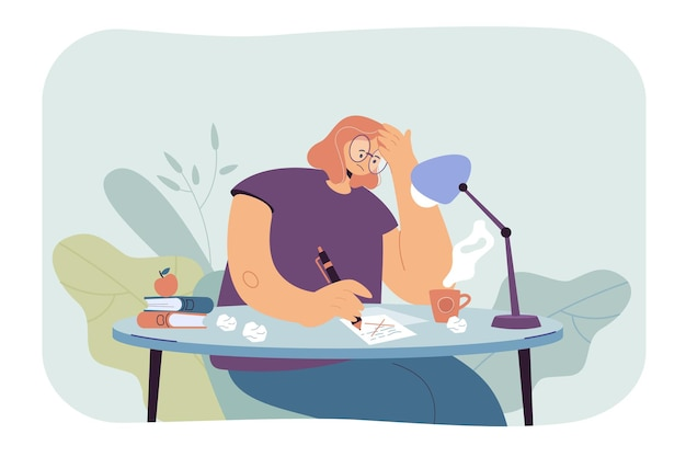 Nadenkende schrijfster die door een creatieve crisis en twijfels gaat tijdens het schrijven van een nieuw artikel of roman. cartoon afbeelding