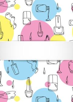 Nagel banner met doodle manicure patroon.