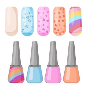 Nagellak kleurrijke reeks gekleurde geschilderde spijkersmanicure.