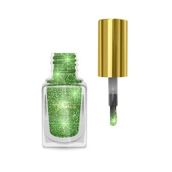 Nagellak met glitterachtige textuur, nagellak van groene kleur met glanzende textuur, illustratie