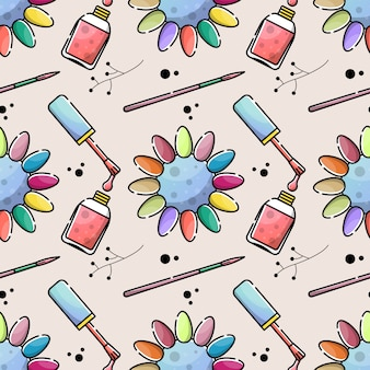 Nagelsalon kleuren naadloos patroon