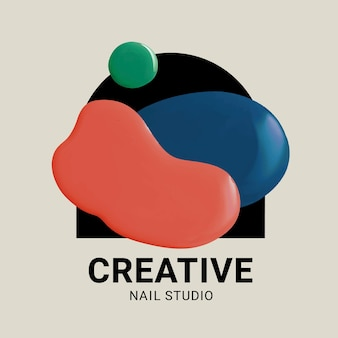 Nagelstudio bedrijfslogo vector creatieve kleur verfstijl