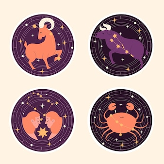 Naïeve astrologische sticker-collectie Premium Vector