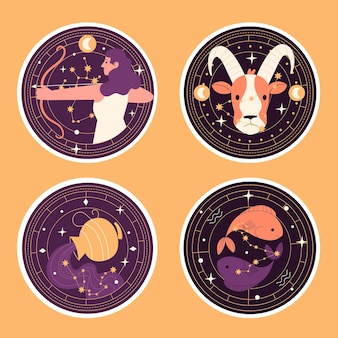 Naïeve astrologische sticker-collectie Gratis Vector