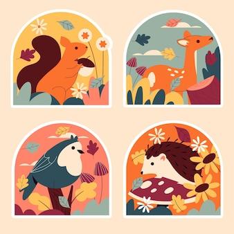 Naïeve herfststickers collectie Gratis Vector