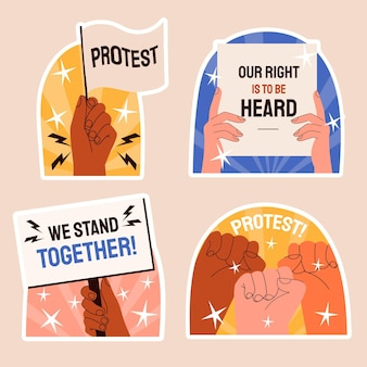 Naïeve proteststickers illustratie