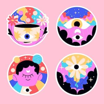 Naïeve psychedelische stickers kleurrijke illustratie