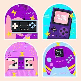 Naïeve stickers voor retro-videogames