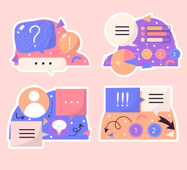 Naïeve tekstballonnen, pijlen, infographic elementenstickers