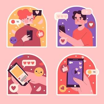 Naïeve verzameling influencer-stickers