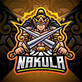 Nakula esport mascotte logo ontwerp