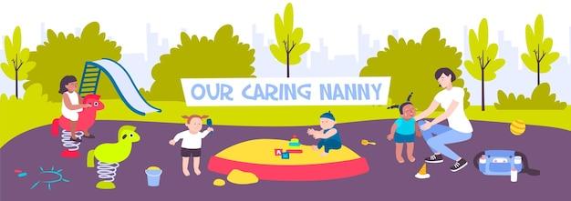 Nanny die met kinderen op speelplaats loopt en de vlakke illustratie van het huilende meisje kalmeert,