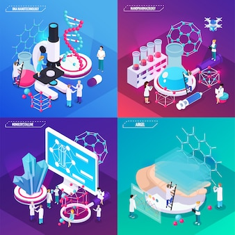 Nanotechnologie concept set isgel monokristallijne dna vierkante composities isometrisch